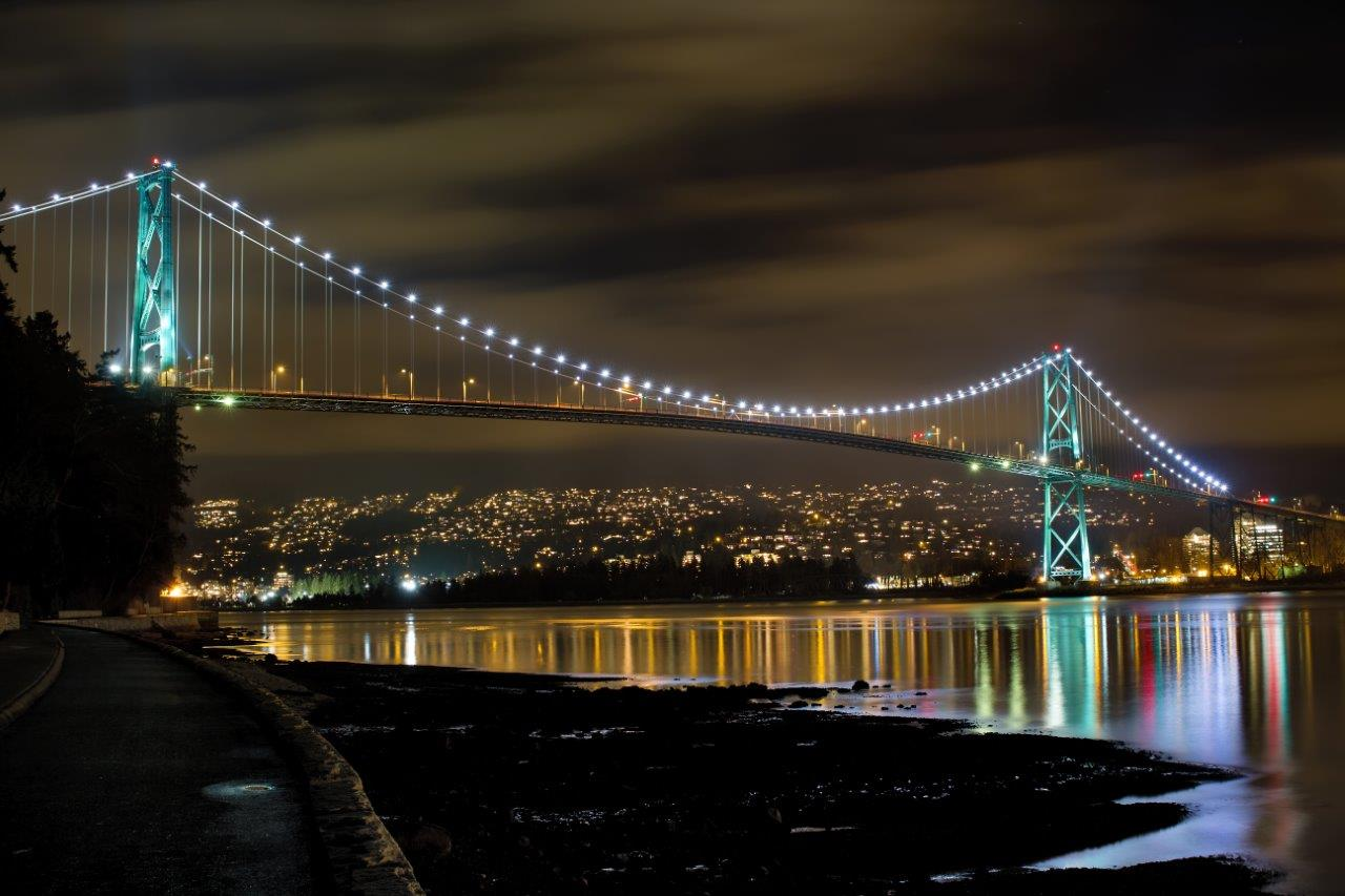 Lion's Gate Bridge at night with reflections on the water, illustrating low-light photography techniques