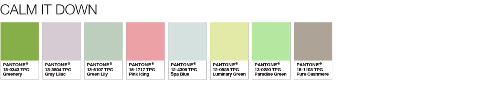 Pantone colour palette Calm It Down greenery