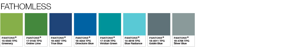 Pantone colour palette fathomless greenery