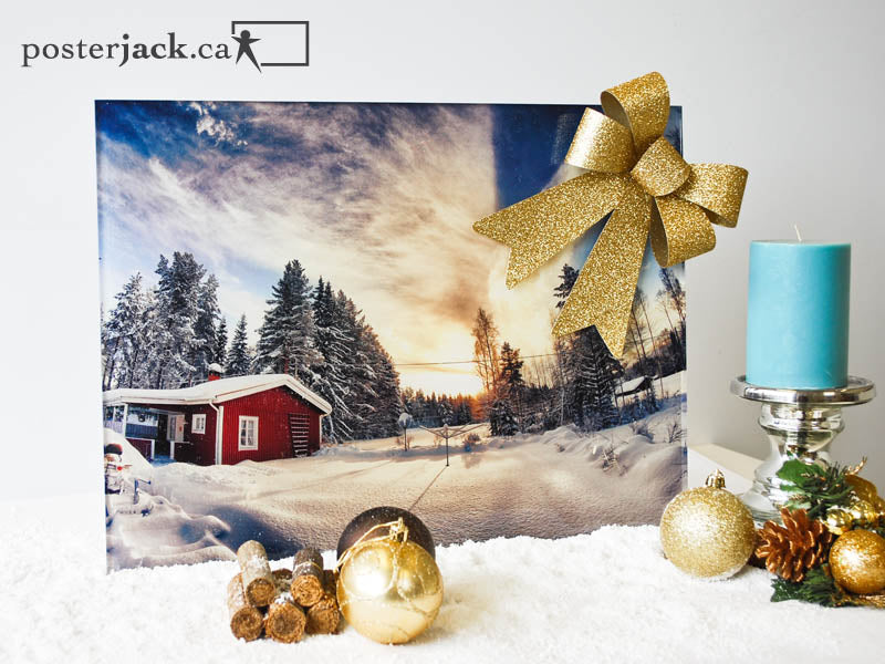 Posterjack Acrylic Print with holiday decorations in the snow