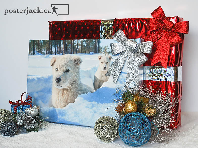 Posterjack Canvas Print with Christmas gifts and holiday decorations in snow
