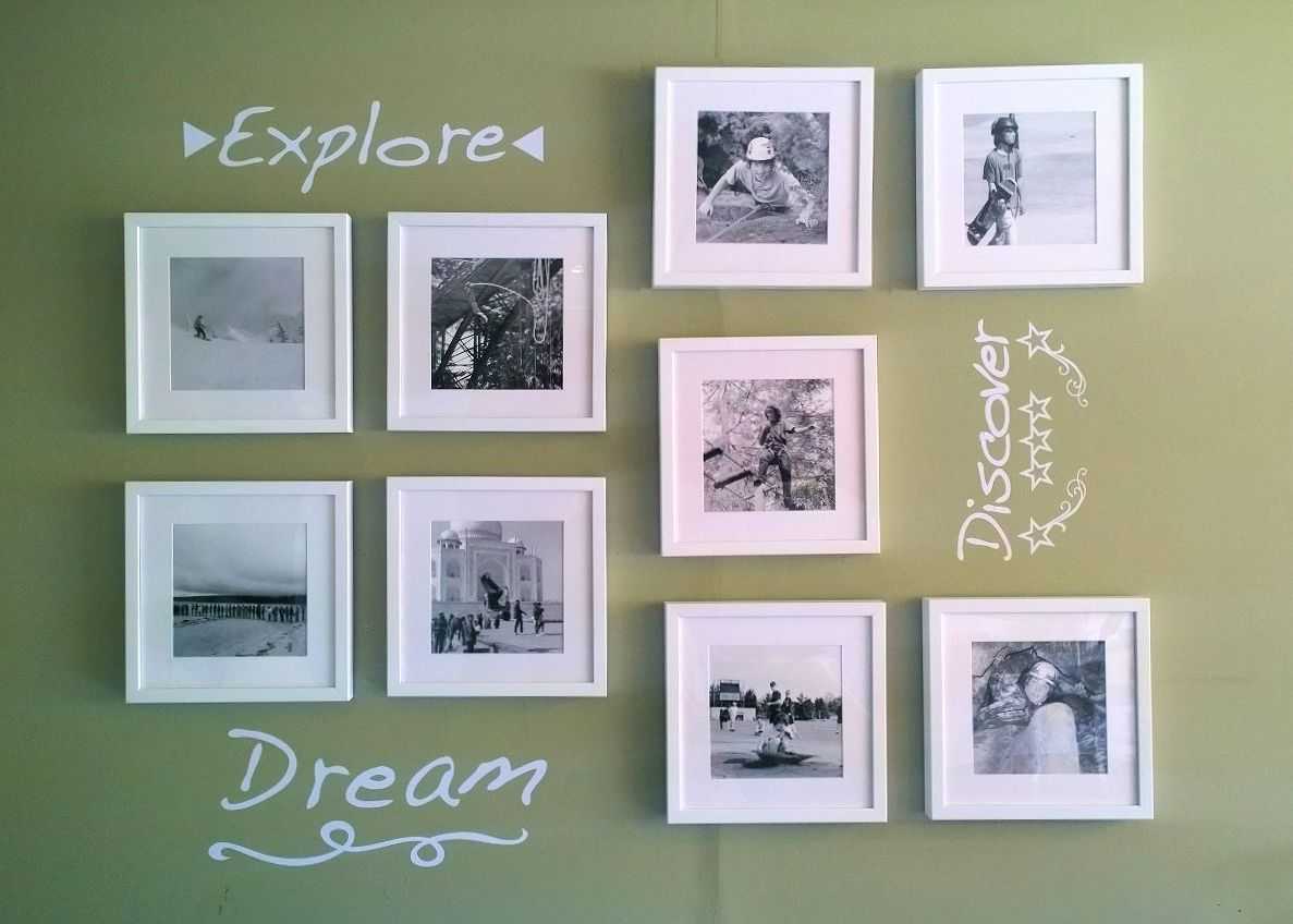 "Room makeover project - Posterjack Framed Prints photo gallery wall of life's adventures and the words ""explore, dream, discover"""
