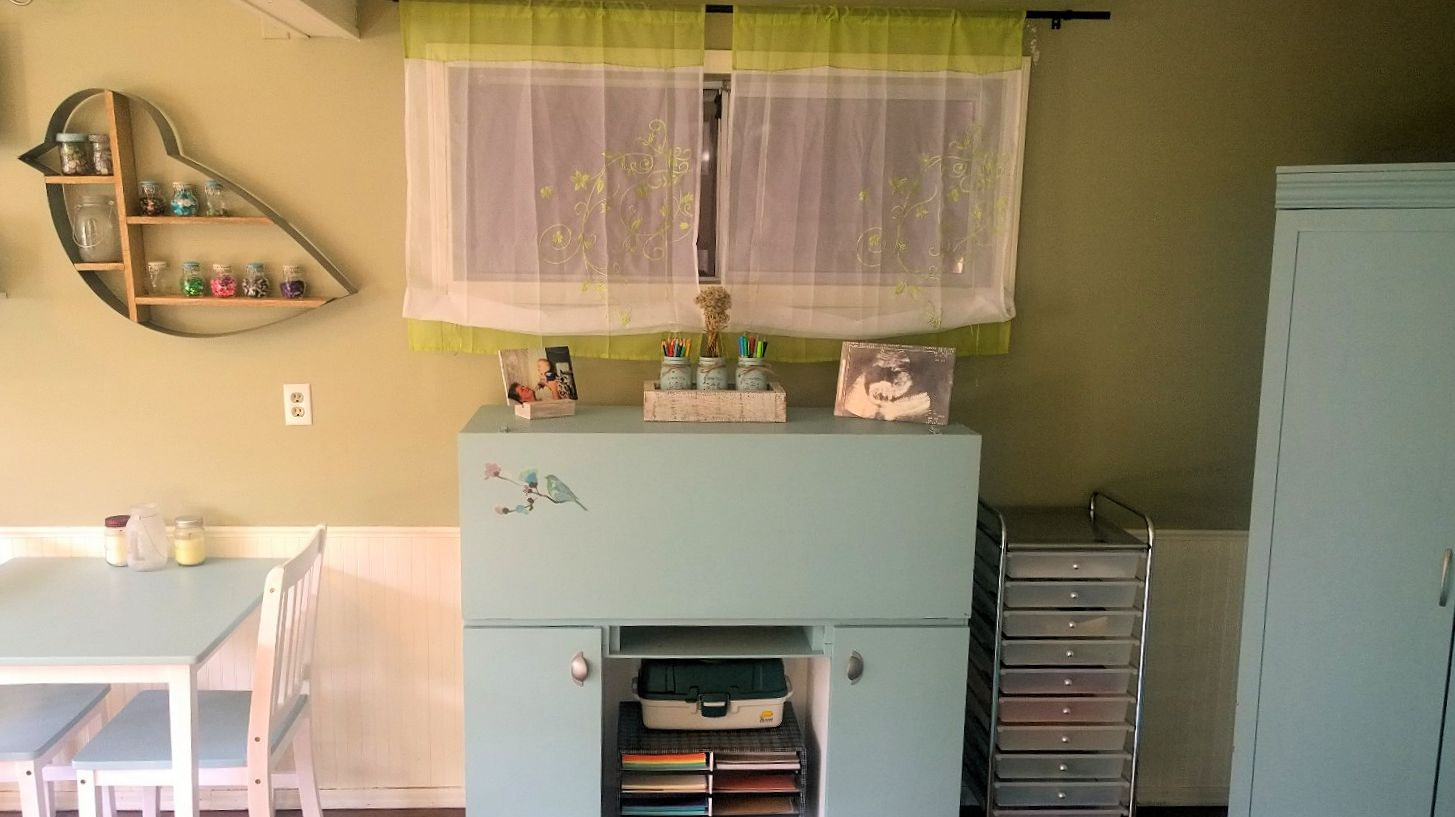 Room makeover after photo - transforming a teen bedroom into a craft room