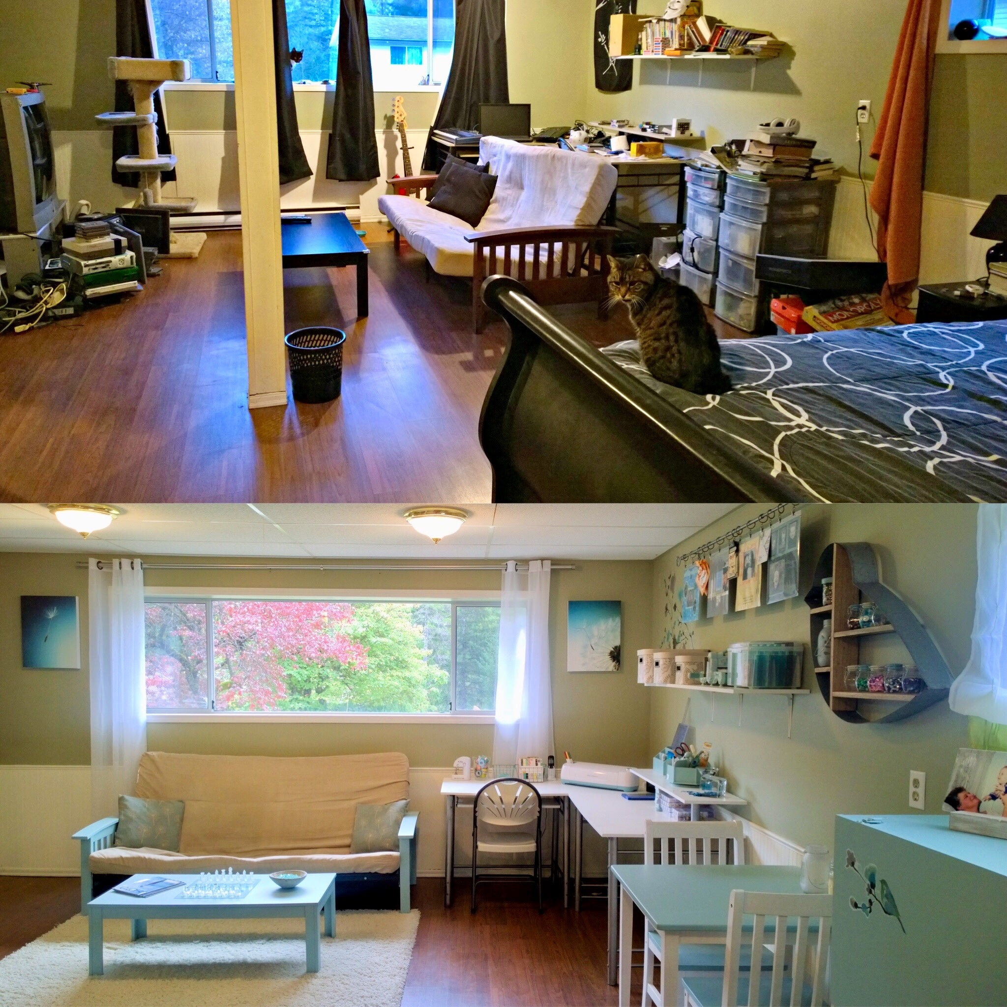 Room makeover transformation from teen bedroom to spare bedroom craft room before and after photos
