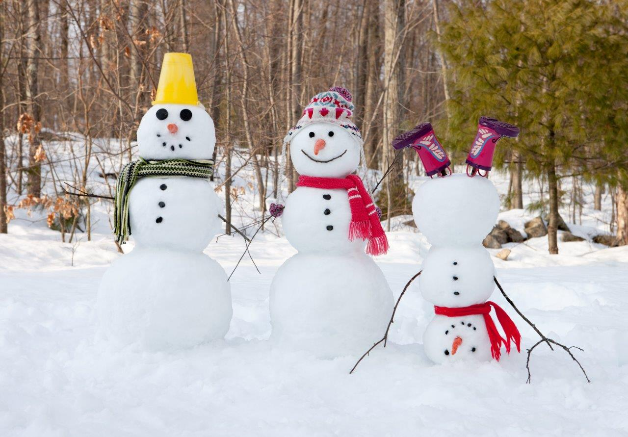 Three snowmen with one standing on its head - using your camera's scene mode settings