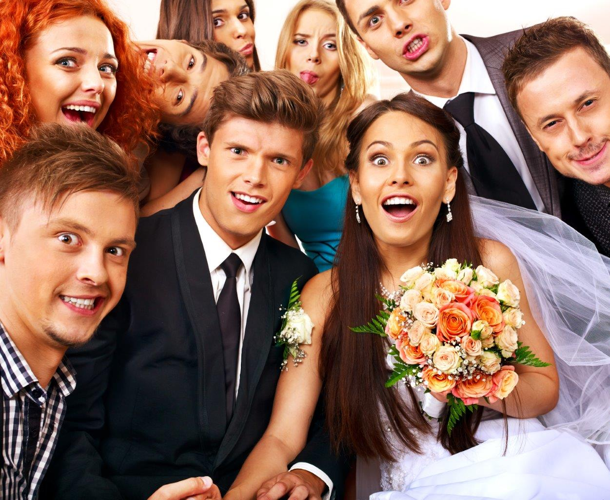 Fun wedding group photo