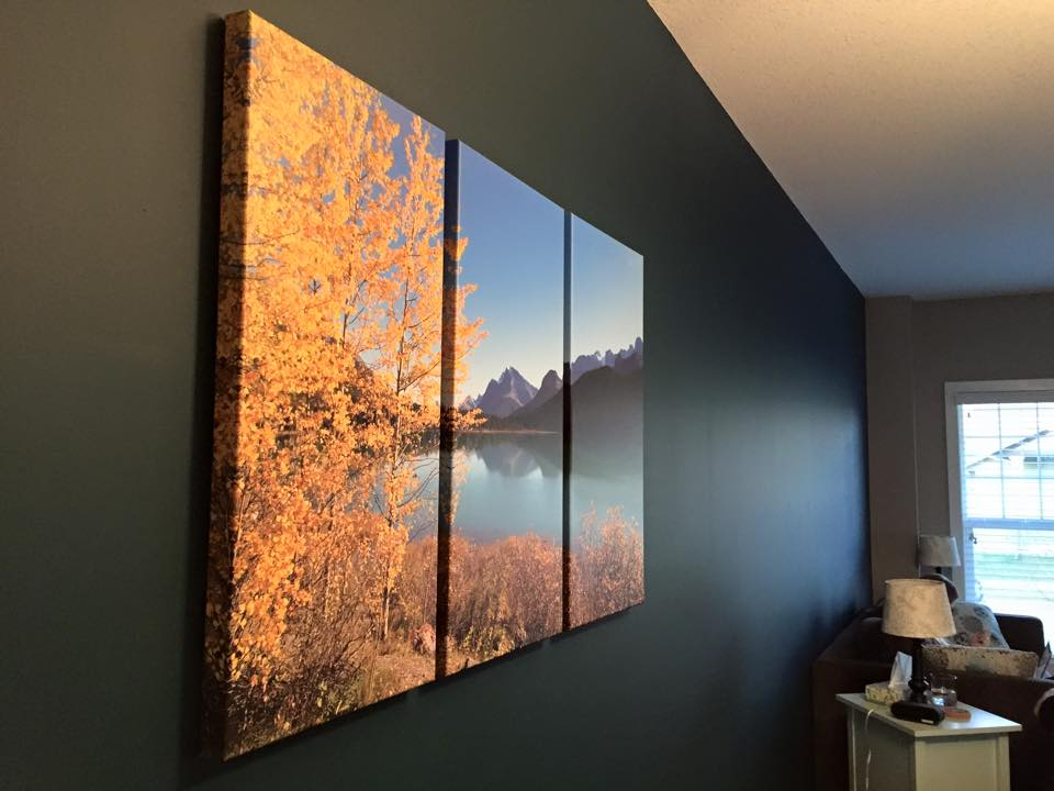 Beautiful autumn trees printed on a Posterjack Three-Panel Triptych Canvas Print