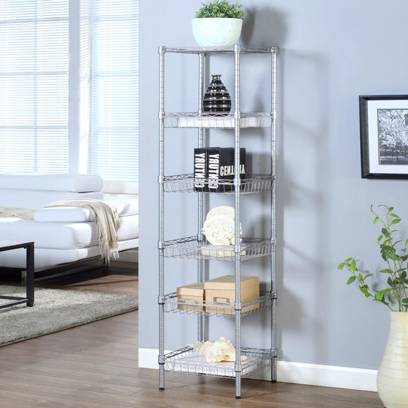 6-Tier Wire Shelving Unit with Baskets
