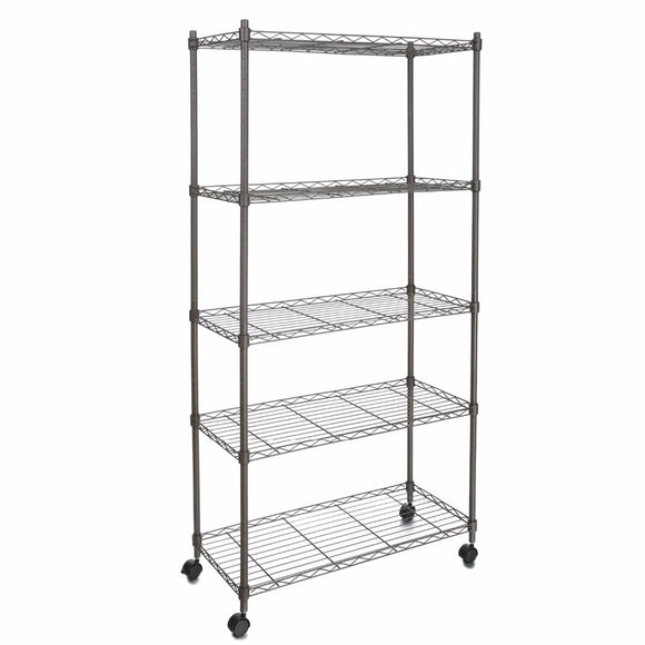5-Shelf Wire Shelving Rack Shelves with Wheels