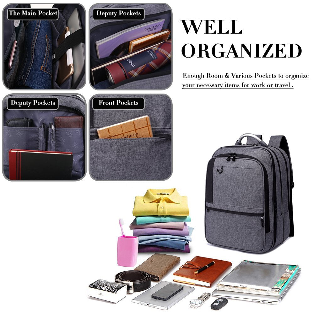Student Backpack for Travel | 3 Huge Compartments, Charger, Elastic Big & Cool Uni College Backpack