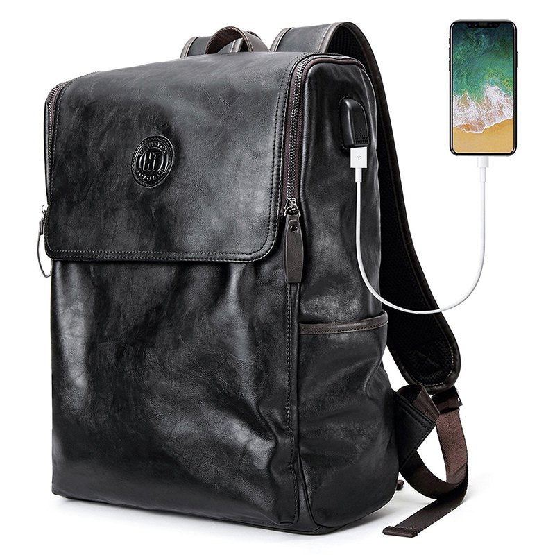 Vintage Leather Backpack for Travel with USB
