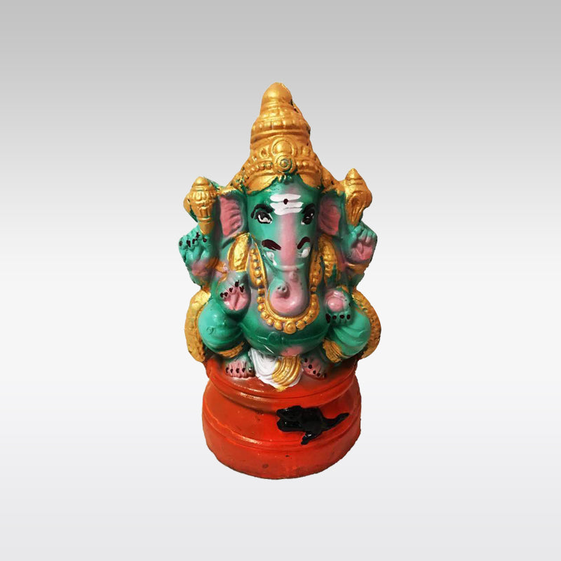 Greenish Clay Ganesh Idol (20cm)