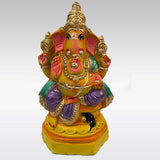 Yellow & Orange Clay Ganesh Idol