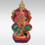 Red Colour Clay Ganesh Idol (21cm)
