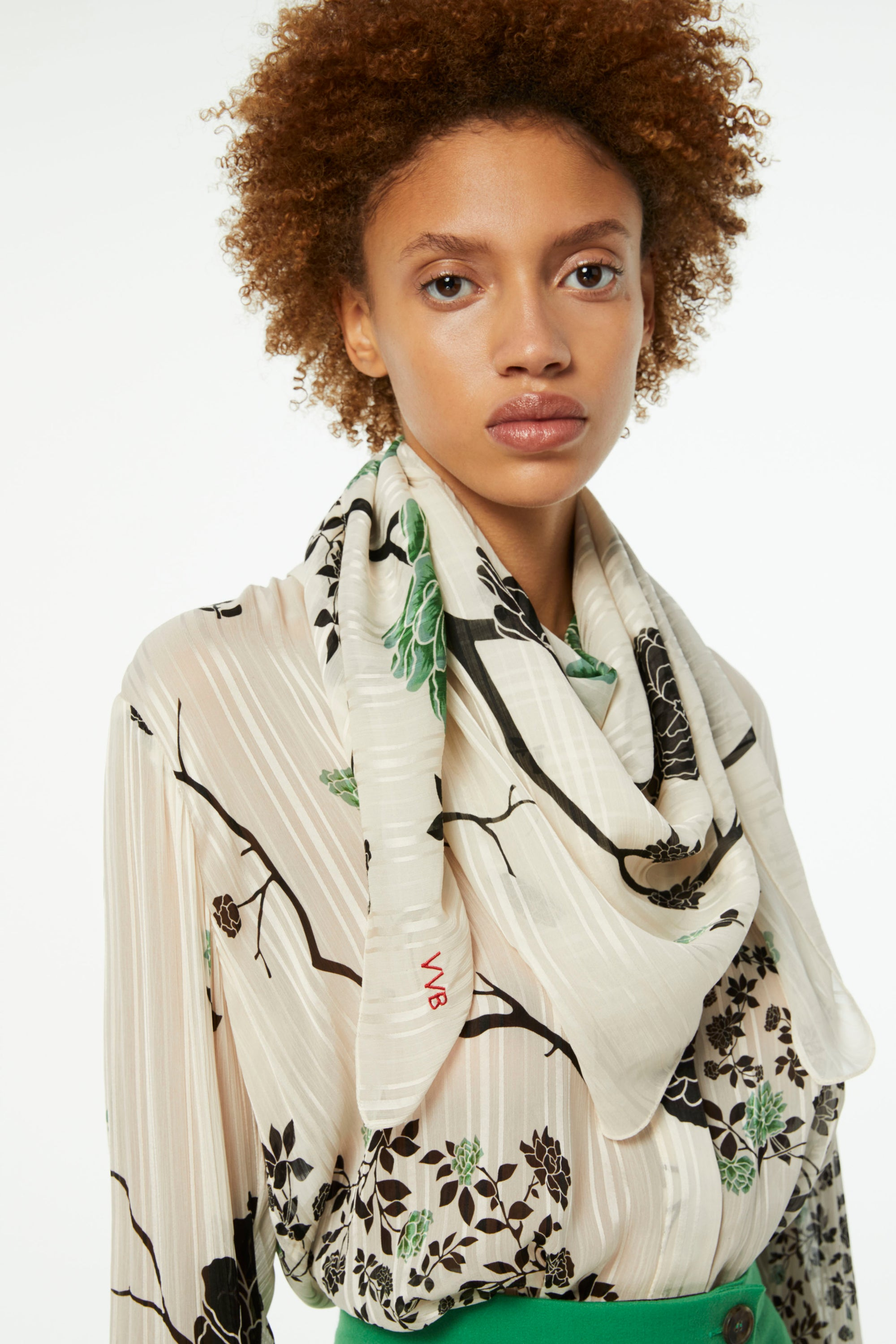 Printed Scarf in Cream Floral Print