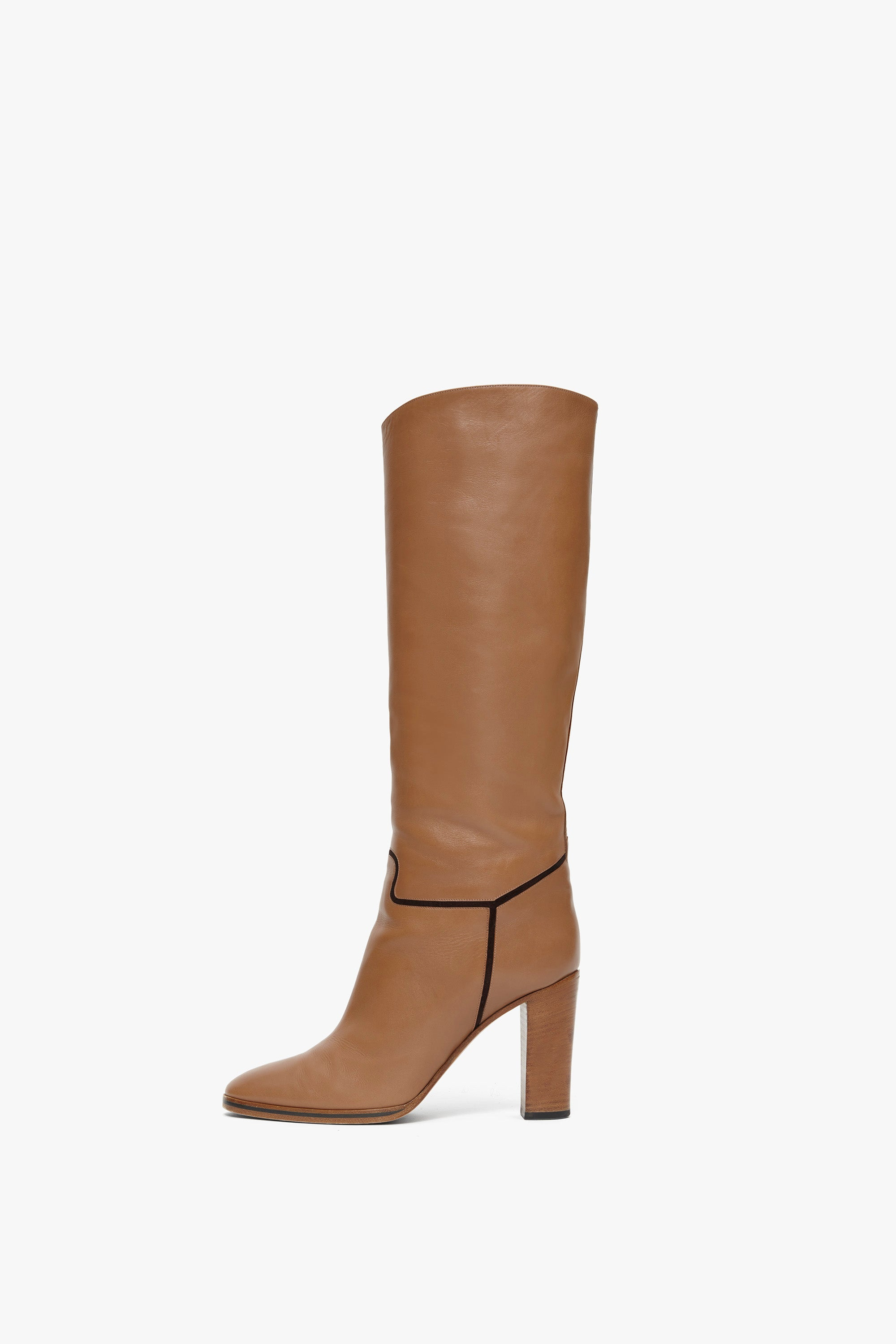 Valentina Knee-high Leather 95mm Boot in Biscuit Beige