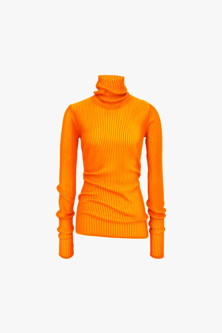 Ribbed Turtleneck Orange