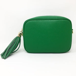 LEATHER BOX BAG WITH REMOVABLE STRAP - PEA GREEN