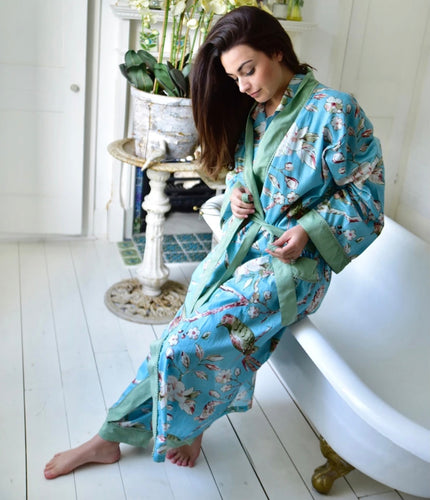COTTON DRESSING GOWN - FLORAL BLUE