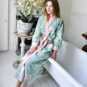 COTTON DRESSING GOWN - FLORAL MINT