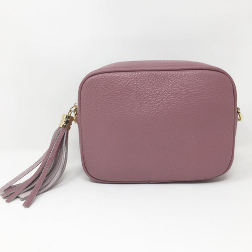 LEATHER BOX BAG WITH REMOVABLE STRAP - ROSE