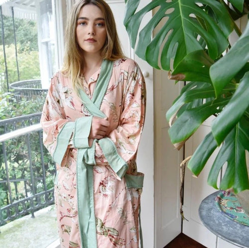 COTTON DRESSING GOWN - FLORAL PEACH