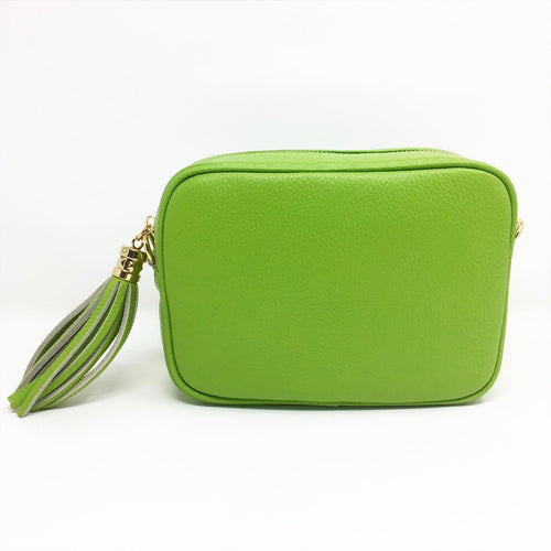 LEATHER BOX BAG WITH REMOVABLE STRAP - LIME GREEN