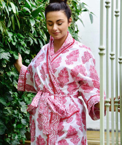 COTTON DRESSING GOWN - PINK PAISLEY