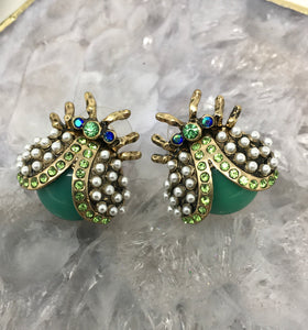 EMBELLISHED BEETLE EARRINGS