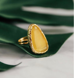 HONEY YELLOW ADJUSTABLE COCKTAIL RING