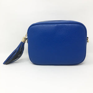 LEATHER BOX BAG WITH REMOVABLE STRAP - ROYAL BLUE