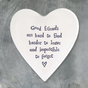 EAST OF INDIA HEART COASTER - GOOD FRIENDS