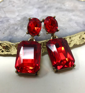 FACETED GLASS DROP EARRINGS - RED