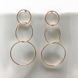 TRIPLE HOOP EARRINGS - ROSE GOLD