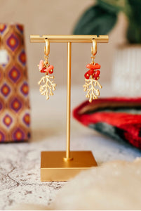 GOLD PLATED CORAL MINI HOOPS