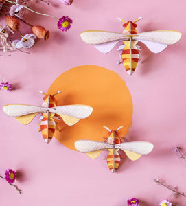 SET OF 3 HONEY BEES 3D WALL HANGING