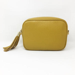 LEATHER BOX BAG WITH REMOVABLE STRAP - MUSTARD