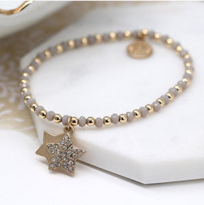 GOLD & GREY BEADED STAR BRACELET