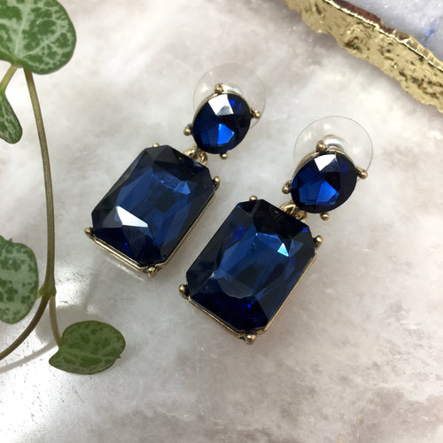 FACETED GLASS DROP EARRINGS - NAVY
