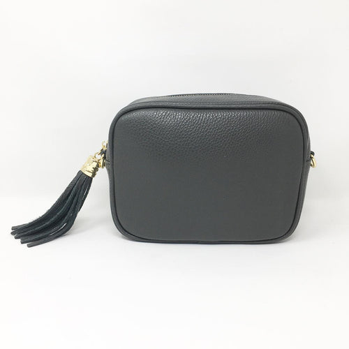 LEATHER BOX BAG WITH REMOVABLE STRAP - DARK GREY