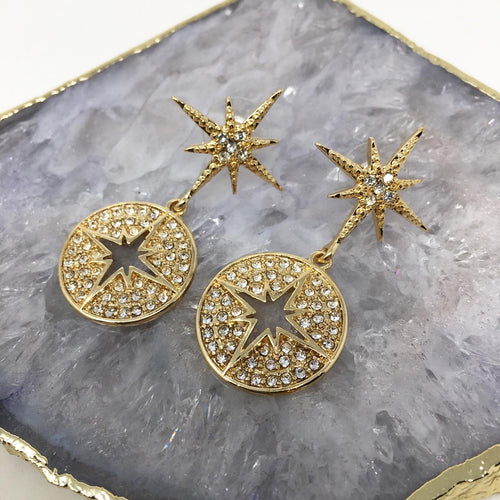 STAR AND DISC DROP EARRINGS