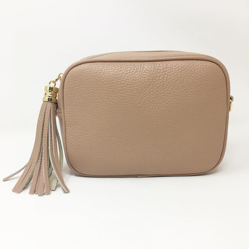 LEATHER BOX BAG WITH REMOVABLE STRAP - DUSKY PINK