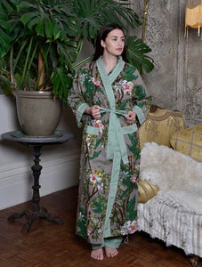 COTTON DRESSING GOWN - GREY LILIES