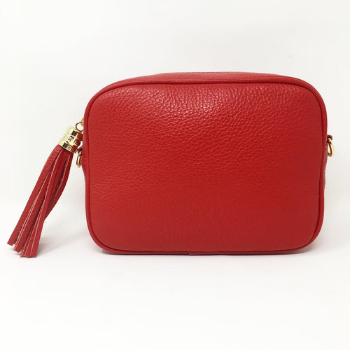 LEATHER BOX BAG WITH REMOVABLE STRAP - RED