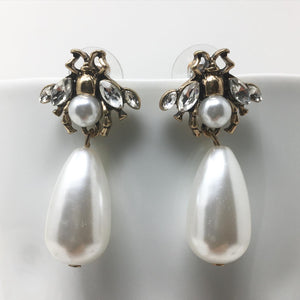 BUG AND FAUX PEARL EARRINGS