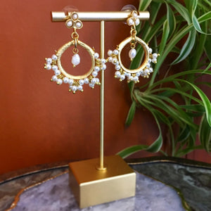 GOLD PLATE AND FRESHWATER PEARL EARRINGS