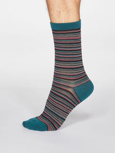 MENS BAMBOO SOCKS - TEAL & MULTI STRIPY