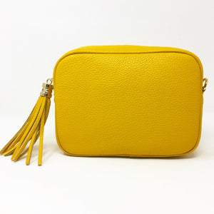 LEATHER BOX BAG WITH REMOVABLE STRAP - CANARY YELLOW