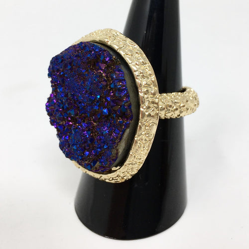 CRYSTAL STYLE ELASTICATED RING - BLUE