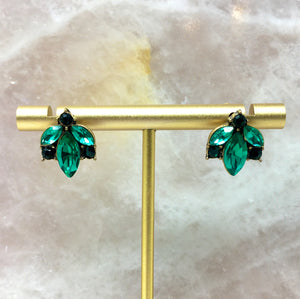 PETAL SHAPES STUD EARRINGS - GREEN